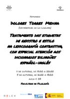 Cartel Dolores Torres Medina Tratamento das etiquetas de rexistro e estilo na lexicografía contrastiva, con especial atención aos dicionarios bilingües español-inglés